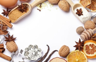 Baking utensils, spices and food ingredients with copy space.