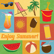 set of summer-themed cards
