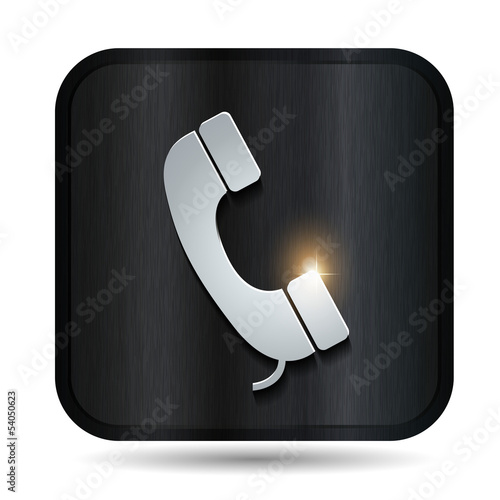 metallic phone vector button
