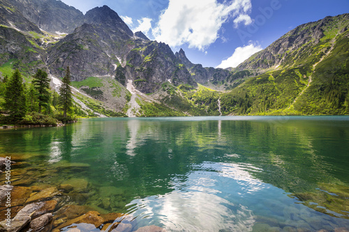 Fotobehang Bergen Beautiful scenery of Tatra mountains and lake in Poland