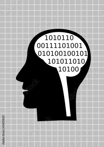 Head silhouette on abstract background
