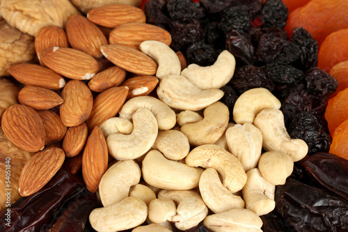 different dried fruits texture background