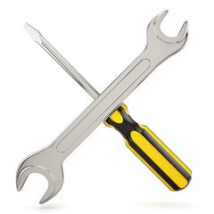 Screwdriver with wrench