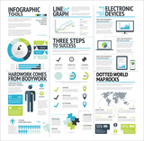 Big set of infographic elements lime green vector EPS10