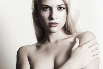 sexy beautiful blond woman with bright lips