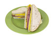 Cut prosciutto Swiss cheese sandwich
