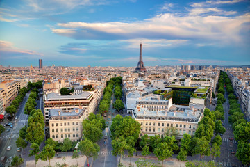 Rooftop view on the Eiffel Tower, Paris, France