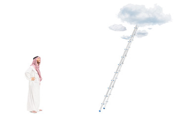 Male arab person standing in front of a ladder with clouds