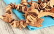 Dried mushrooms on wooden background