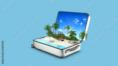 Video of an opening suitcase that contains a paradise beach