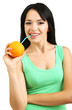 Girl drinking juice from orange isolated on white
