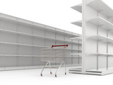 An empty shopping trolley cart and shop shelves