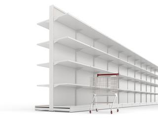 An empty shopping trolley cart and shop shelves