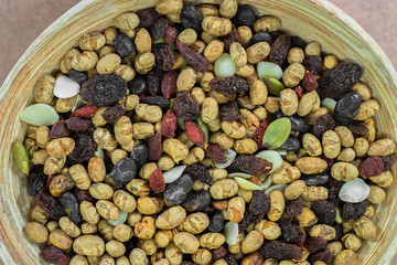 dried cereal and fruits