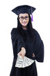 Asian female graduate holding money - isolated