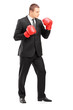 Businessperson in suit with boxing gloves