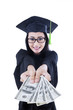 Asian female graduate giving money - education cost concept