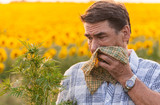 man in the field suffers from allergies