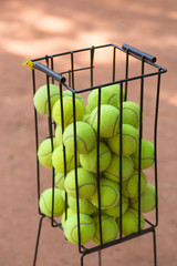 Basket with tennis balls