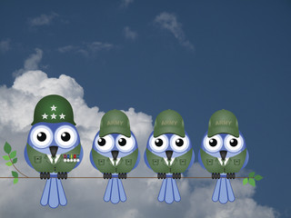 Comical bird General and Soldiers