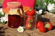 Leinwanddruck Bild - leckere Erdbeerkonfitüre