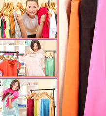 Collage of photos with young females shoppers