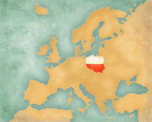 Map of Europe - Poland (summer style)