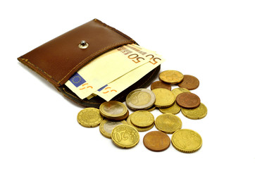 purse of coins and banknotes