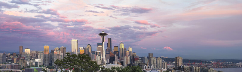 Seattle City Downtown Skyline at Sunset Panorama