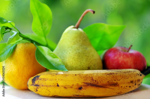 Banana, pear, apple and orange fruits