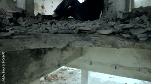 Man in Black Hoodie Getting High in Abandoned Building Addiction