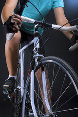 race bike closeup. isolated over black