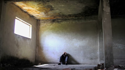 Homeless Depressed Young Man In Abandoned Building Unemployment