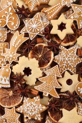 Gingerbread and shortbread cookies, spices and dry range slices