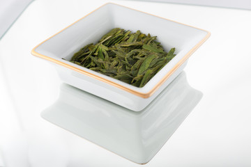 Loose green tea leaves