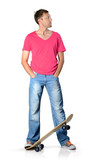 Man with skateboard on white background