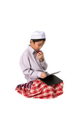 Muslim boy eating