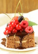 chocolate cake with berries (raspberry, currant, cherry)