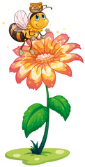 A bee with a pot of honey flying above the fresh flower
