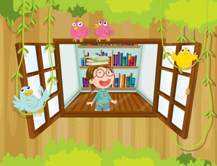 A girl at the tree house with books above her head