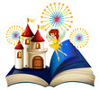 A storybook with a flying fairy near the castle with fireworks
