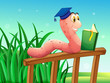 A worm reading a book above the fence