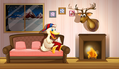 A duck reading a book beside a fireplace