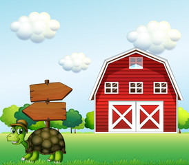 A turtle with a wooden arrow board and a barn at the back