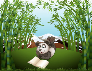 A panda reading at the hilltop with bamboos