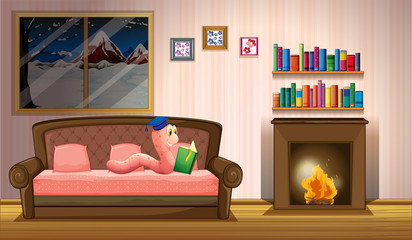 A worm reading a book near the fireplace