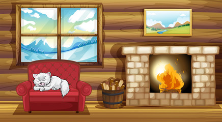 A cat sleeping at the sofa near the fireplace