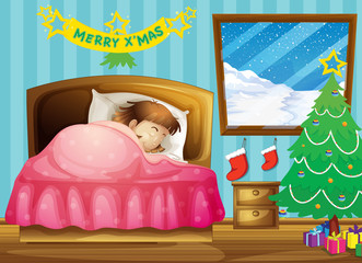 A girl sleeping in her room with a Christmas tree