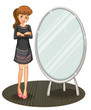 A woman beside a mirror