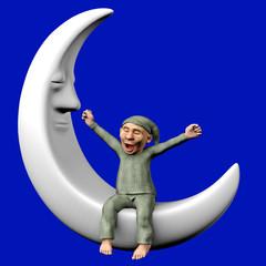 Schlafmütze sitzt auf dem Mond